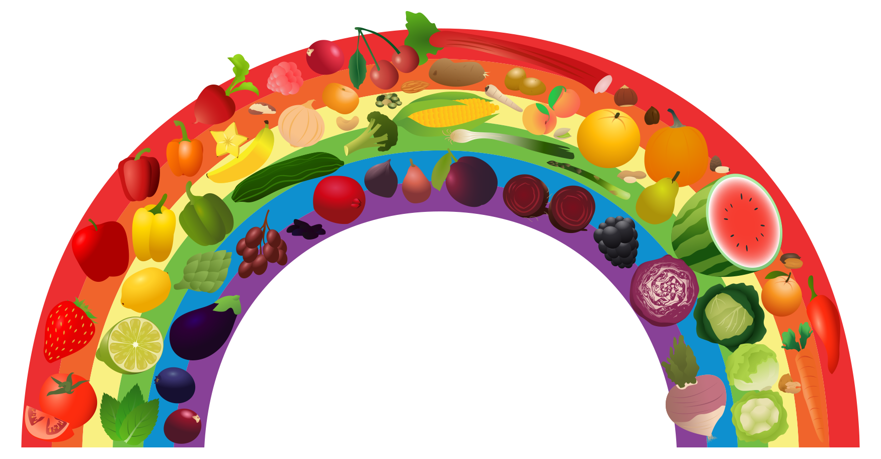 View Rainbow_1.png Clipart - Free Nutrition and Healthy Food Clipart