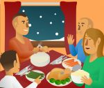 Family_Eating_Winter1.jpg - Family, eating, winter, christmas,