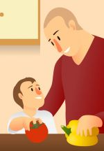 Father_and_Son.jpg - Family, cooking, together, clipart,
