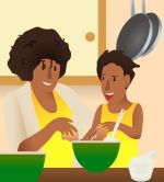 Mother_and_Daughter.jpg - Family, cooking, together, clipart,